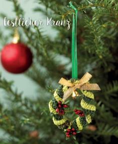 Häkelanleitung - Festlicher Kranz - Mini Weihnachts-Deko Häkeln Vol. 5