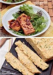 Rezept - Ahorn-glasierter-Tofu-Salat / Käse- und Schnittlauch-Brot - Simply Kreativ - Vegan-Guide 01/2019