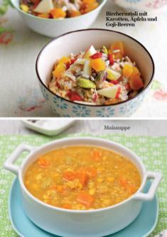 Rezept - Birchermüsli mit Karotten, Äpfeln und Goji-Beeren / Maissuppe - Simply Kreativ - Vegan-Guide 01/2019