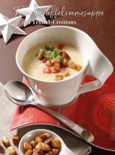 Rezept - Feine Kartoffelcremesuppe mit Trüffel-Croutons - Simply Kreativ Sonderheft Weihnachtsrezepte 01/2019