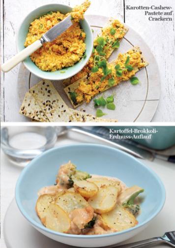 Rezept - Karotten-Cashew-Pastete auf Crackern / Kartoffel-Brokkoli-Erdnuss-Auflauf - Simply Kreativ - Vegan-Guide 01/2019