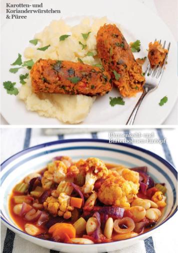Rezept - Karotten- und Korianderwürstchen & Püree / Blumenkohl- und Butterbohnen-Eintopf - Simply Kreativ - Vegan-Guide 01/2019