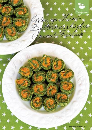 Rezept - Würzige Mini-Butternusskürbis-Spinat-Roulade - Simply Kreativ Superfood 01/2019