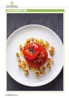 Rezept - Pesto-Tomaten mit Reis - Healthy Vegan 02/2019