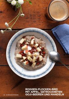Rezept - Roggen-Flocken-Brei mit Apfel, getrockneten Goji-Beeren und Mandeln - Simply Kochen Sonderheft Körper ohne Entzündungen 01/2019