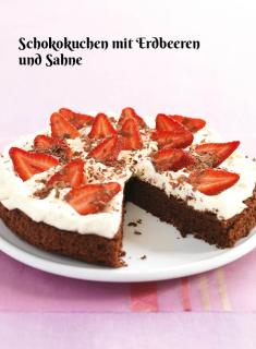 Rezept - Schokokuchen mit Erdbeeren und Sahne - Simply Kochen Sonderheft Zuckerfrei 01/2019