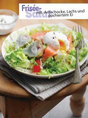 Rezept - Frisée-Salat mit Artischocke, Lachs und pochiertem Ei - Simply Kochen Sonderheft - Frühlingssalate