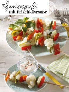 Rezept - Gemüsespieße mit Frischkäsesoße - Simply Kreativ Extra – Leckere Ideen für den Thermomix® 02/2019