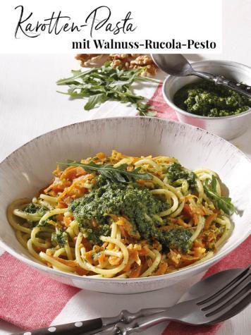 Rezept - Karotten-Pasta mit Walnuss-Rucola-Pesto - Simply Kreativ Extra – Leckere Ideen für den Thermomix® 02/2019