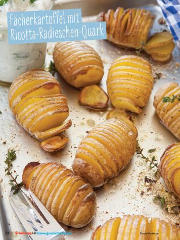 Rezept - Fächerkartoffel mit Ricotta-Radieschen-Quark - Simply Kochen Sonderheft - Ernährung in der Schwangerschaft - mit Nina Kämpf von Mamaaempf