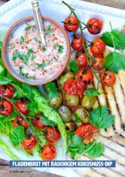 Rezept - Fladenbrot mit rauchigem Kokosnuss-Dip - Healthy Vegan 04/2019