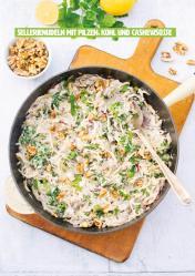 Rezept - Sellerienudeln mit Pilzen, Kohl und Cashewsoße - Healthy Vegan 03/2019