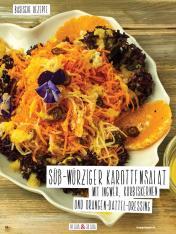 Rezept - Süß-würziger Karottensalat mit Ingwer, Kürbiskernen und Orangen-Dattel-Dressing - Simply Kochen Sonderheft Basenfasten mit Andrea Sokol