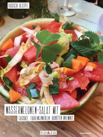 Rezept - Wassermelonen-Salat mit Chicorée, Frühlingzwiebeln, Karotten und Minze - Simply Kochen Sonderheft Basenfasten mit Andrea Sokol