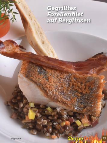 Rezept - Gegrilltes Forellenfilet auf Berglinsen - Simply Kochen Sonderheft Besser Grillen mit den Grillweltmeisten
