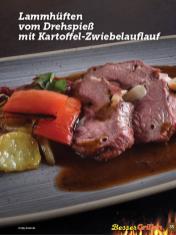 Rezept - Lammhüften vom Drehspieß mit Kartoffel-Zwiebelauflauf - Simply Kochen Sonderheft Besser Grillen mit den Grillweltmeisten