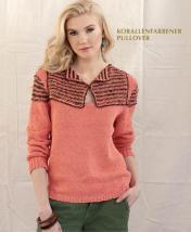 Strickanleitung - Korallenfarbener Pullover - Designer Knitting 04/2019