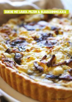 Rezept - Quiche mit Lauch, Pilzen & Blauschimmelkäse - Healthy Vegan 05/2019