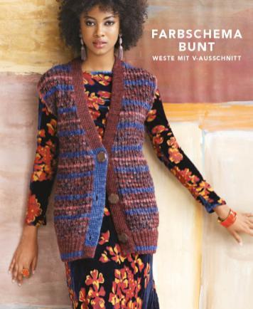Strickanleitung - Farbschema Bunt - Weste mit V-Ausschnitt - Designer Knitting - 05/2019