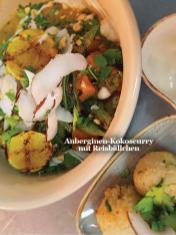 Rezept - Auberginen-Kokoscurry mit Reisbällchen - Healthy Vegan Sonderheft - Vegan Jahrbuch