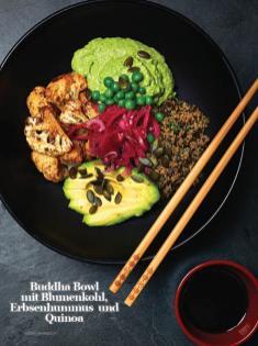Rezept - Buddha-Bowl mit Blumenkohl-Erbsenhummus und Quinoa - Healthy Vegan Sonderheft - Vegan Jahrbuch