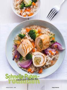 Rezept - Schnelle Putenrouladen auf Brokkoli-Karotten-Reis - Simply Kochen Diät-Rezepte für gesunde Ernährung