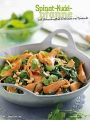 Rezept - Spinat-Nudelpfanne mit Hühnerbrustfilet, Erdnüssen und Koriander - Simply Kochen Diät-Rezepte für gesunde Ernährung