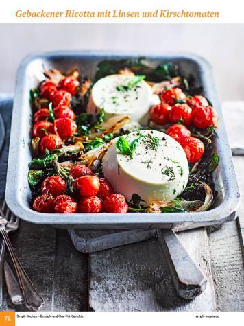 Rezept - Gebackener Ricotta mit Linsen und Kirschtomaten - Simply Kochen Sonderheft: One-Pot-Gerichte
