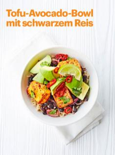 Rezept - Tofu-Avocado-Bowl mit schwarzem Reis - Vegan Food & Living – 05/2020