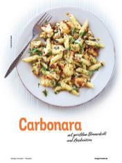 Rezept - Carbonara mit geröstetem Blumenkohl und Haselnüssen - Simply Kochen Nudeln 04/2020