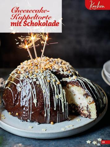 Rezept - Cheesecake-Kuppeltorte mit Schokolade - Simply Backen Special Weihnachten 01/2020