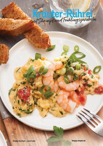 Rezept - Kräuter-Rührei mit Shrimps und Frühlingszwiebeln - Simply Kochen Kompakt Low Carb 01/2021