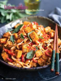 Rezept - Udonudeln mit knusprigen Tofuwürfeln, Chili und Thai-Basilikum - Simply Kochen Nudeln 04/2020