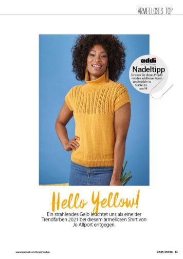 Strickanleitung - Hello Yellow! - Simply Stricken 02/2021