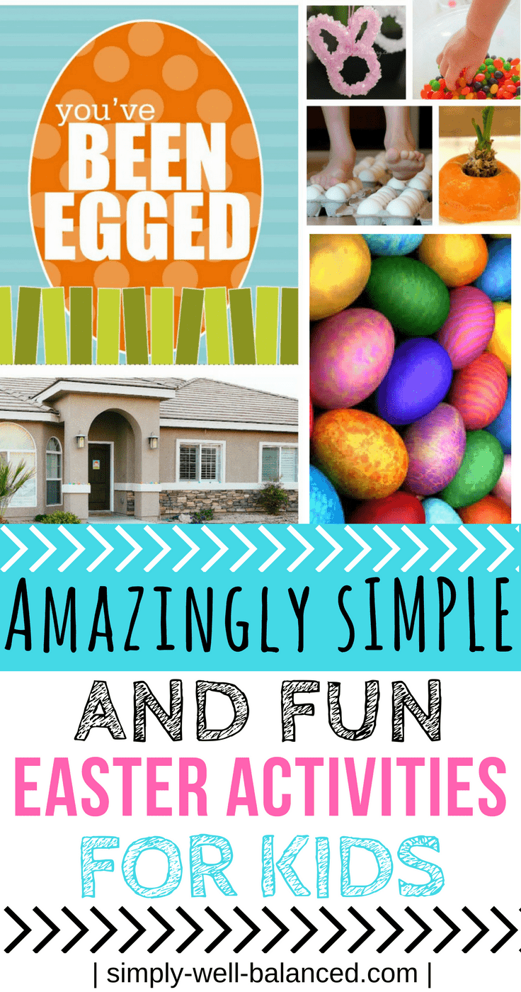Pinterest image for blog article that shares fun Easter activites for kids from a variety of different websites.