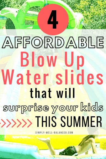 Looking for a simple way to keep your kids occupied for hours this summer? Today, I am sharing the perfect solution that allows them to cool off, have a blast and get worn out – without leaving home! All you need is anaffordable blow up water slide for you backyard! #summerfun #kidsactivities #birthdayparty