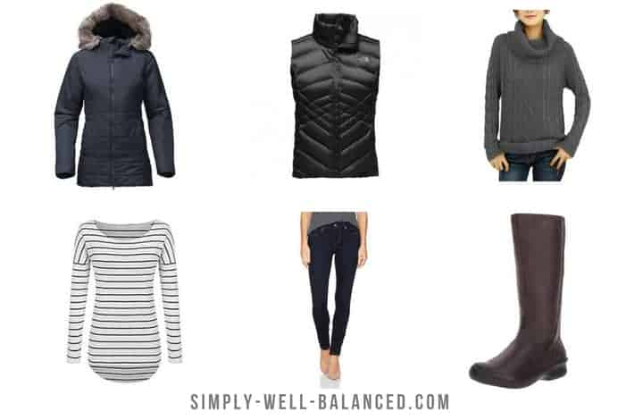 images of a sample winter capsule wardrobe; jacket, vest, sweater, jeans and boots