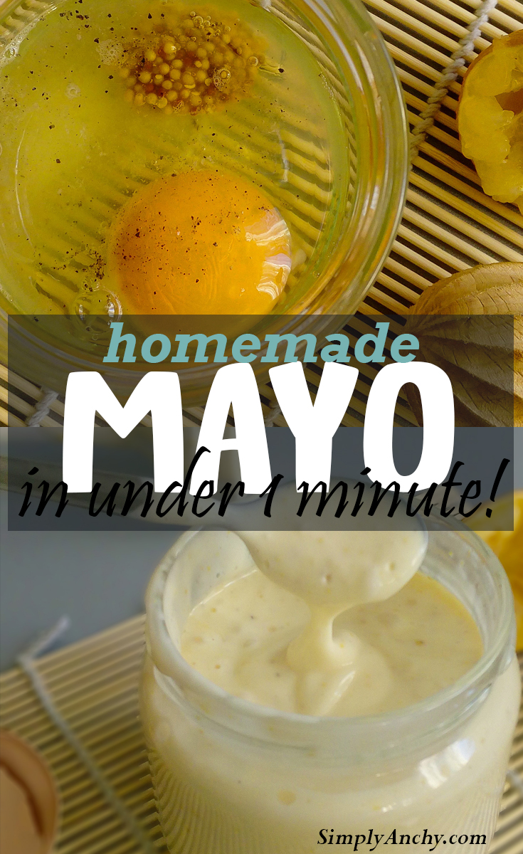 This is the easiest Homemade Mayonnaise Recipe, and it is done in under 1 minute! Check it out! This recipe is even Paleo and Whole30 friendly. | Healthy Food Recipes | simplyanchy.com