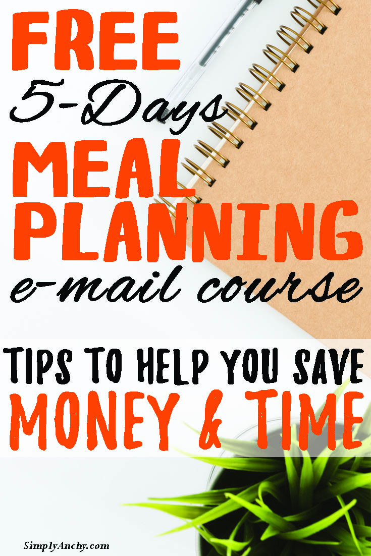 Would you like to provide your family with home-cooked meal every night of the week? Do you feel like you're wasting food? Sign up for this 5-day FREE meal planning Course and learn how to stop stressing about the question ''What's for Dinner?'' | #mealplanning #freemealplanningcourse #mealplanningcourse #stopwastionfood #emailcourse #free | simplyanchy.com