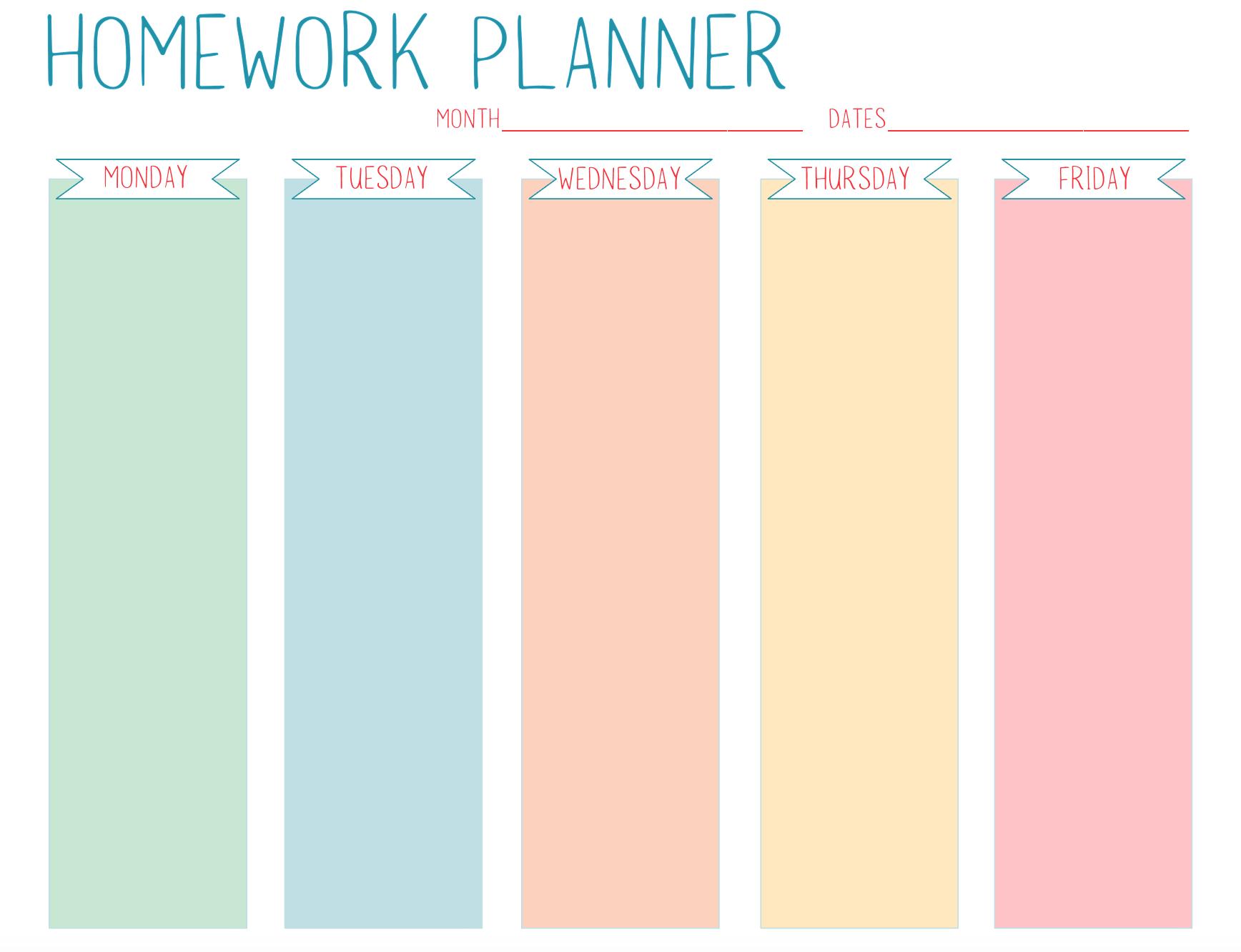 Free Printable Homework Planner For Students