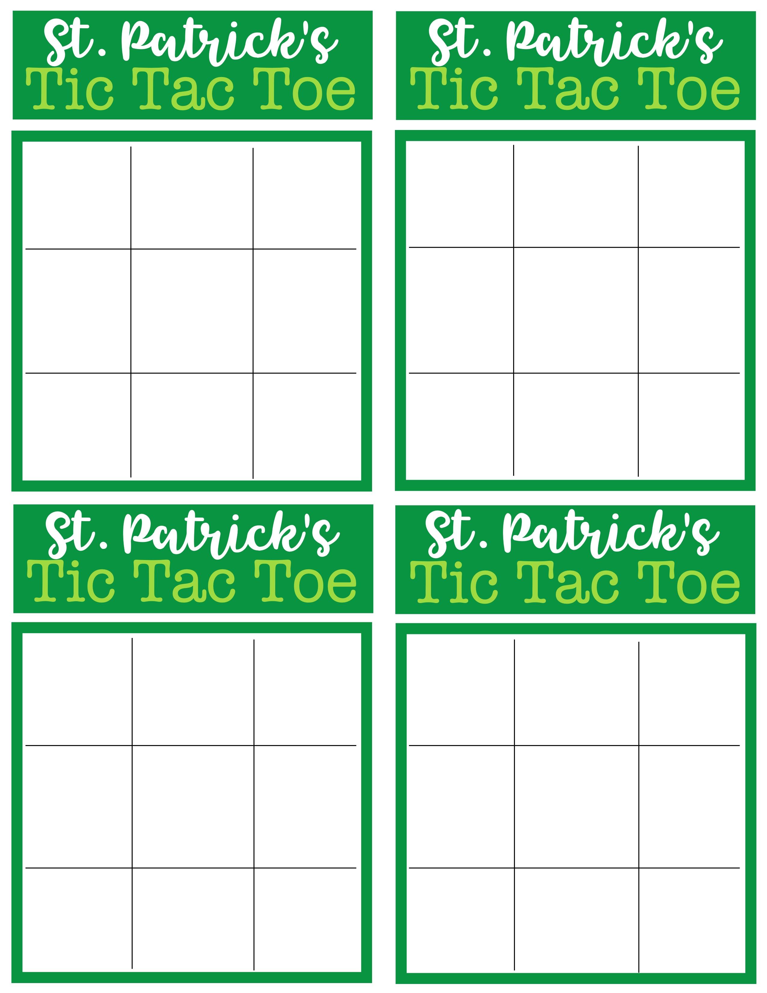 St Patrick S Day Tic Tac Toe Printable