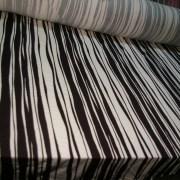 Cotton Lycra Black White Uneven Stripe