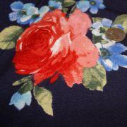 Rayon Spandex Navy Roses