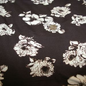 Rayon Spandex black brown roses