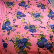 Rayon Spandex Pink Blue Floral