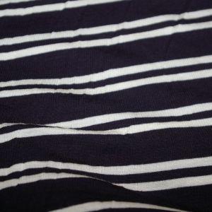 Rayon Spandex Navy Ivory Stripe