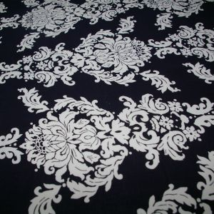 Navy and white damask Rayon Spandex
