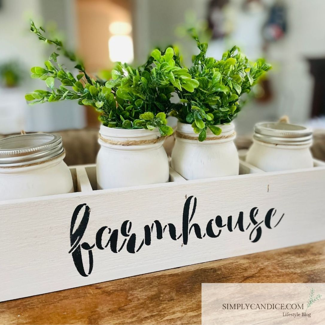 farmhouse painted box with faux plants in chalk painted mason jars