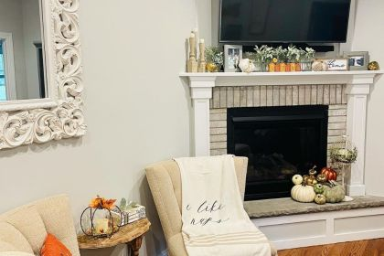 side living room chairs with fall decor