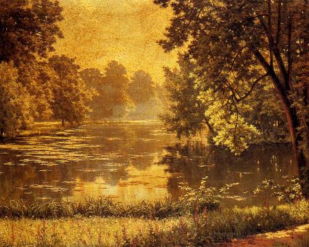 Wooded River Landscape - Henri Biva